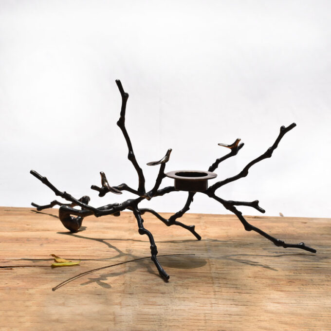 The Bronze Magnolia Candle holder in a Dark Patina (Large)